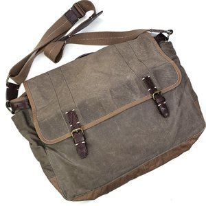 J.Crew Bowery Waxed Canvas Messenger Bag Olive
